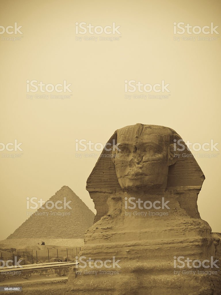 Great Sphinx of Giza and pramid royalty-free stock photo
