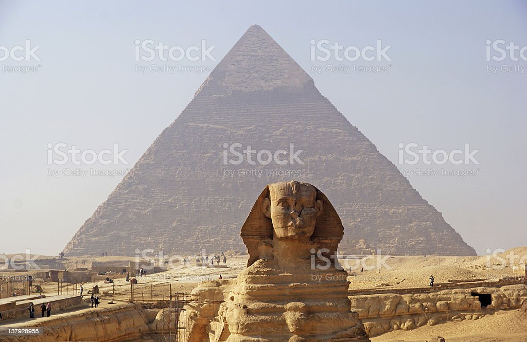 Great Sphinx (Giza), with Pyramid of Khafra in the background stock photo
