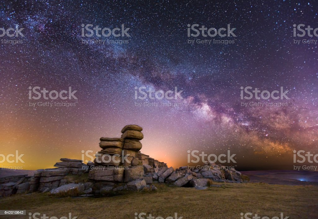 Great Staple Tor at Night stock photo