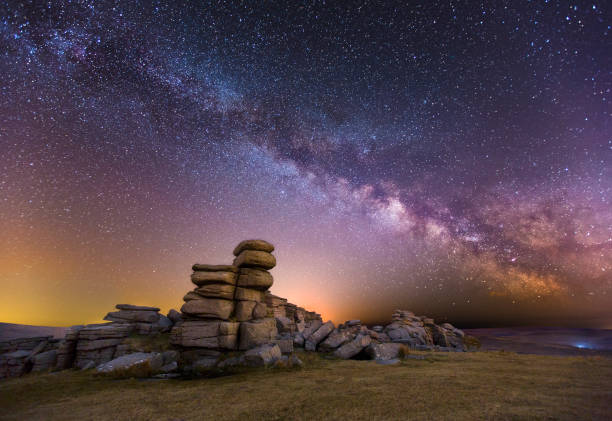 great staple tor at night - outcrop stock pictures, royalty-free photos & images