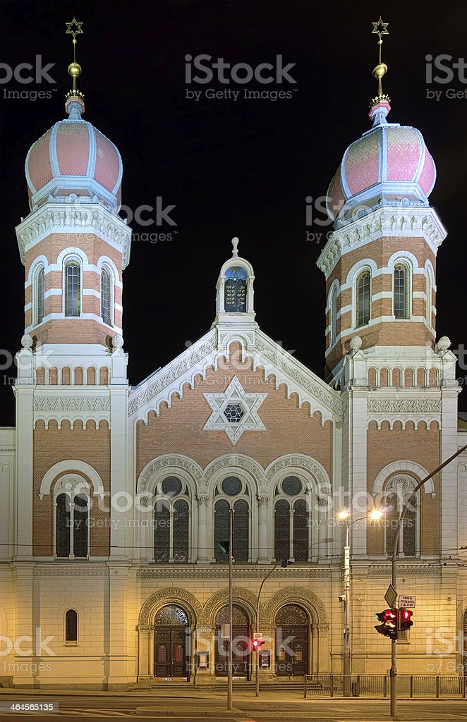 Great Synagogue in Plzen at night, Czech Republic stock photo
