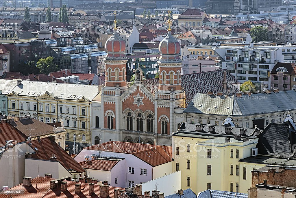 Great Synagogue in Plzen, Czech Republic on a sunny day  stock photo