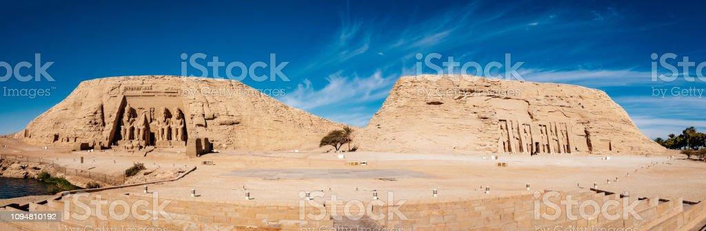 Great temples of Abu Simbel panoramic view stock photo