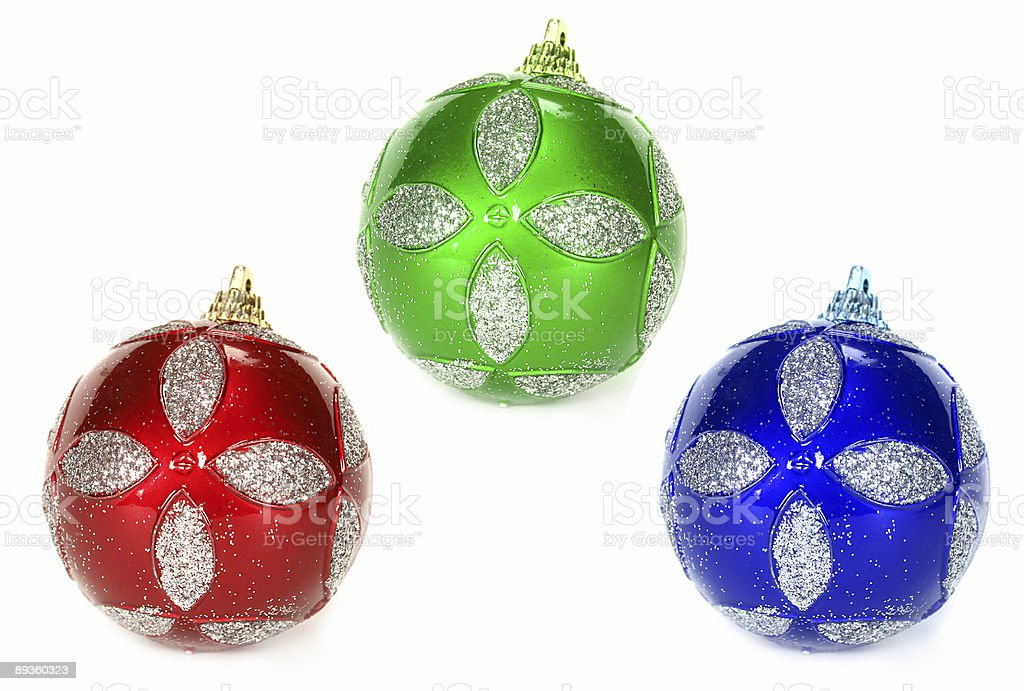 Great three christmas globes royalty free stockfoto