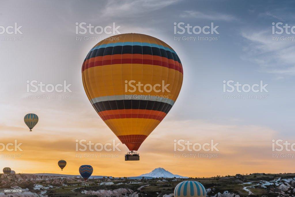 great tourist attraction Cappadocia balloon flight - Royalty-free Anatólia Foto de stock