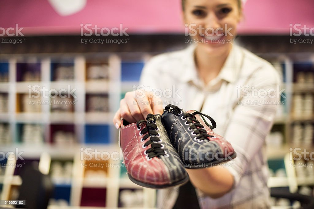 Great variety of bowling shoes stock photo