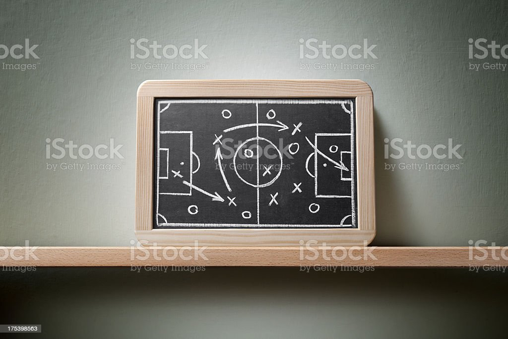 Great victory. Blackboard with football strategy planning. royalty-free stock photo