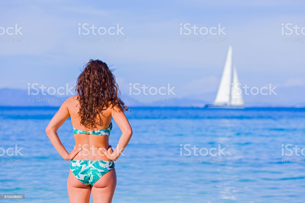 Great view from the shore stock photo