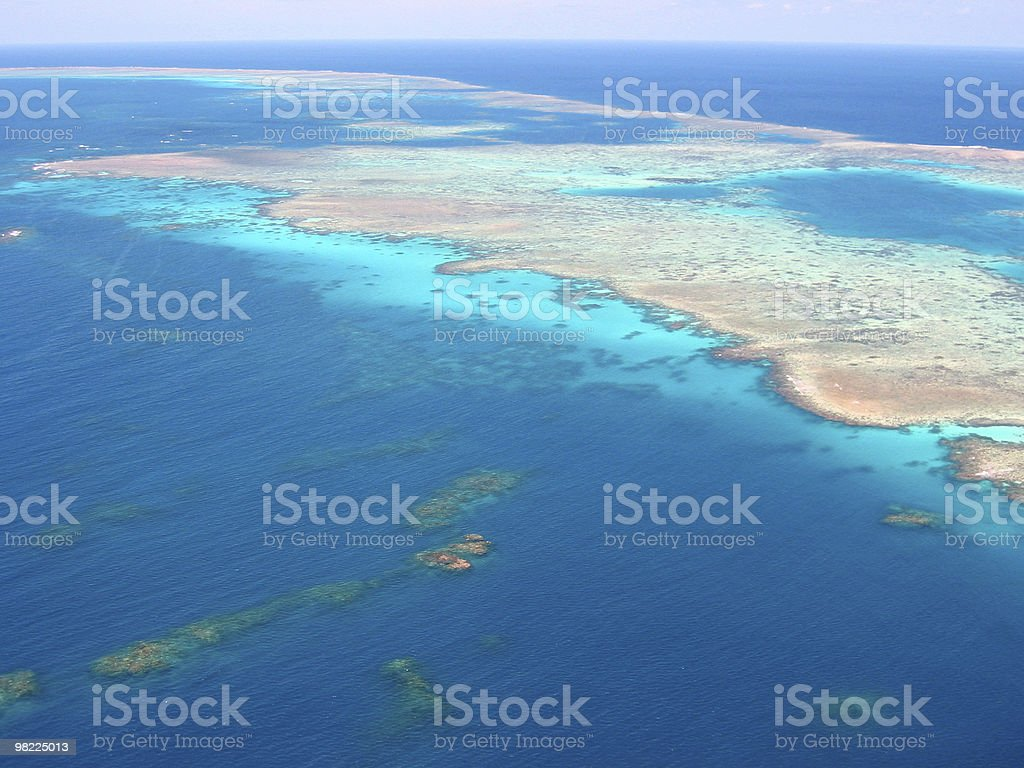 Great view of Australia Great Barrier Reef from the air royalty-free stock photo