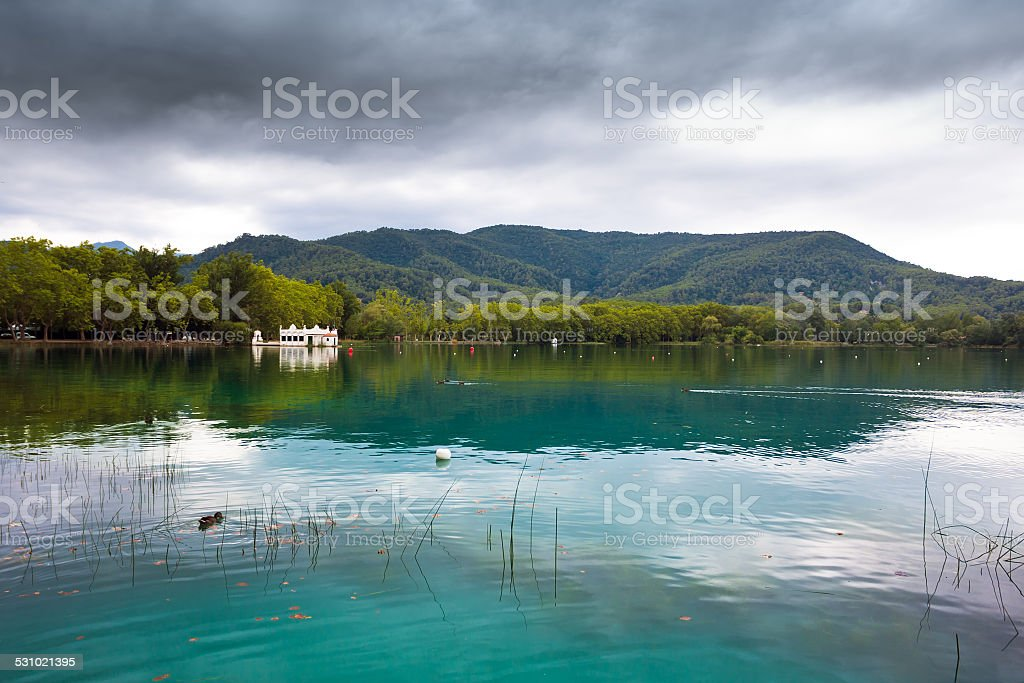 Great view of Banyoles Lake, Girona stock photo