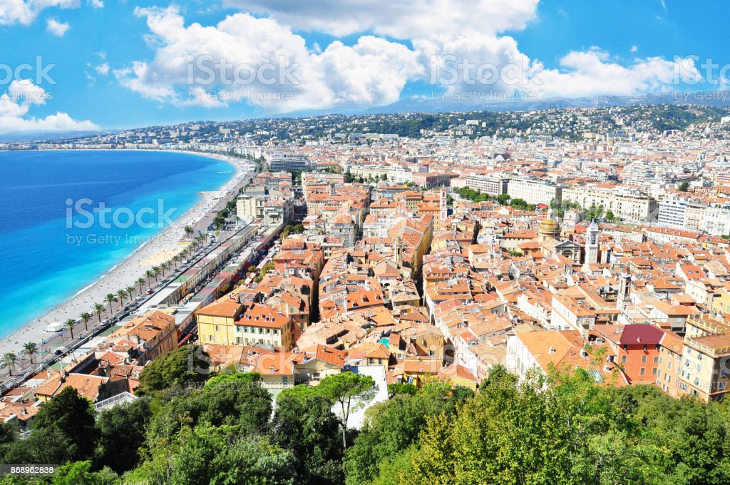Great view of Nice City, French Riviera with Mediterranean Sea stock photo