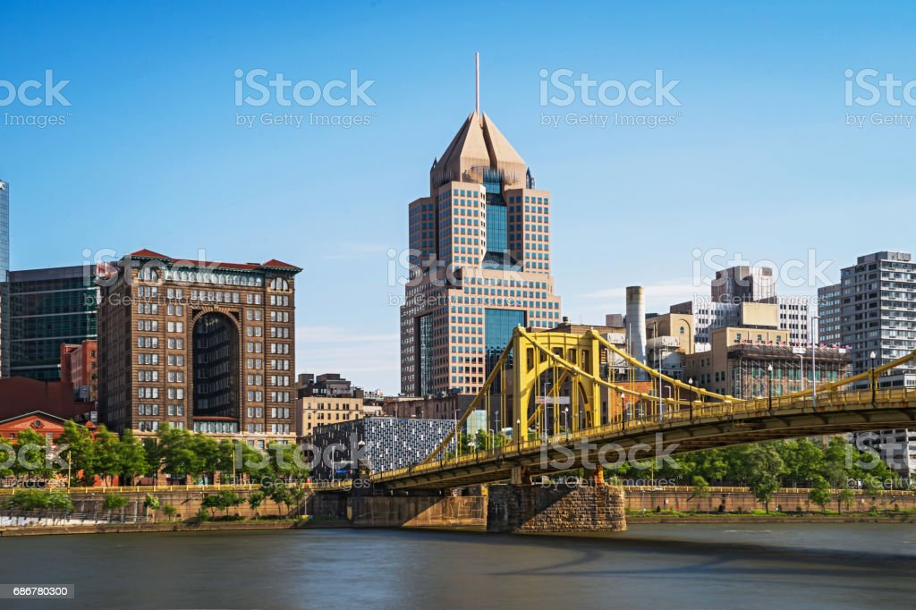 Great View of Pittsburgh View of Downtown Pittsburgh Bridge - Built Structure Stock Photo