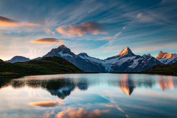 Great view of the snow rocky massif. Location place Bachalpsee in Swiss alps, Grindelwald valley, Bernese Oberland, Europe.
