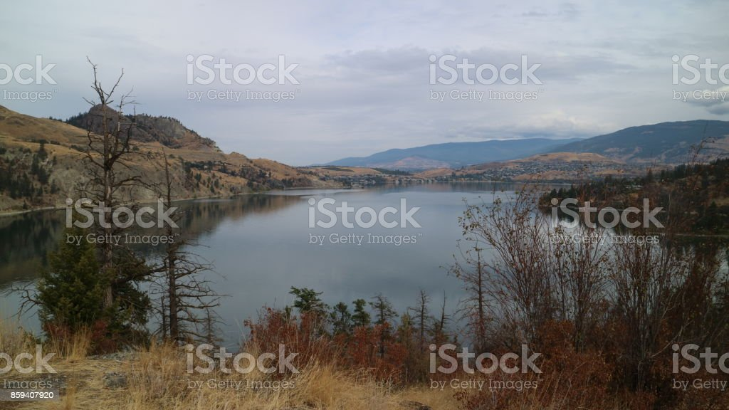 Great view of Vernon from Rattlesnake Point, Kalamalka Lake Provincial Park, Vernon, BC stock photo