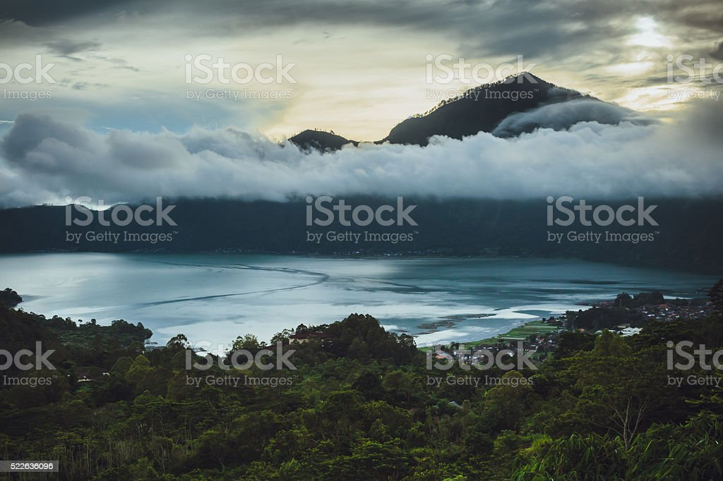 Great view on Batur Volcano in Bali stock photo