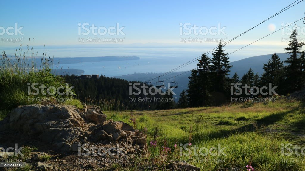 Great views of the city of Vancouver and Pacific Ocean from Grouse Mountain stock photo