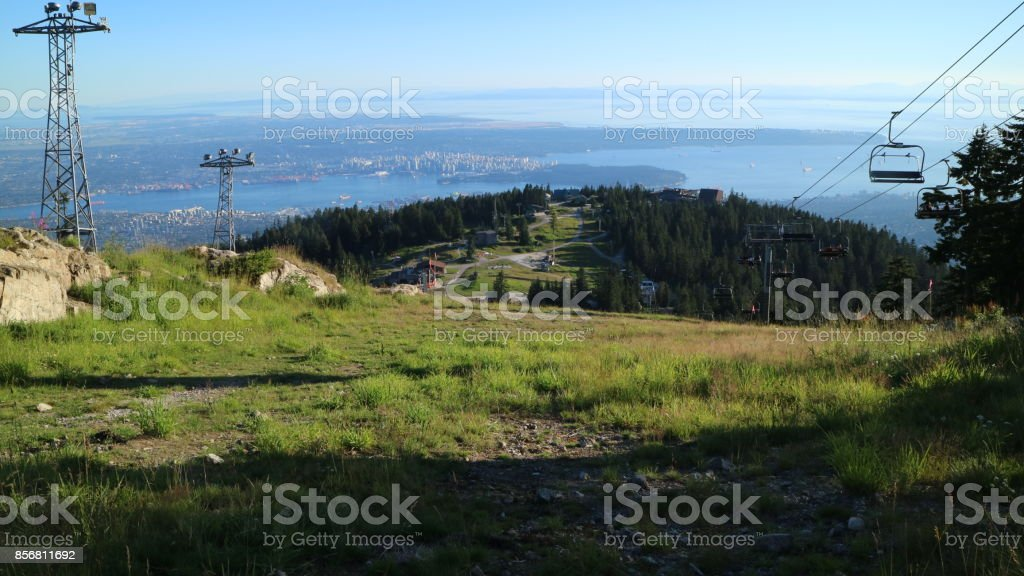 Great views of the city of Vancouver, Burrard and Pacific Ocean Inlet from Grouse Mountain stock photo