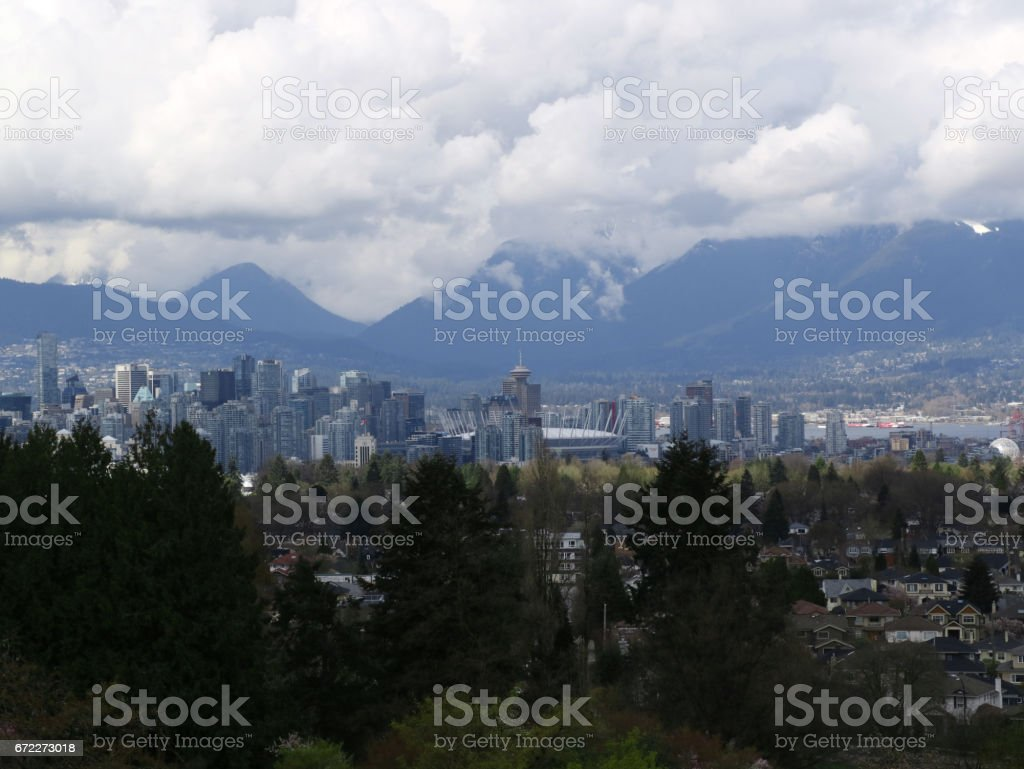 Great views of the city of Vancouver from Queen Elizabeth Park in springtime stock photo
