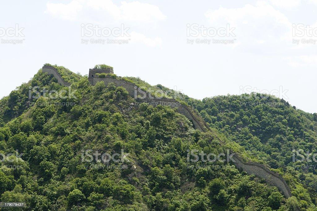 Great Wall at Mutianyu Climbing Up Hillside Outside Beijing, China royalty-free stock photo