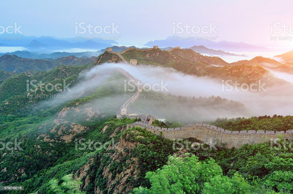Great Wall at Stratosphere Fog stock photo