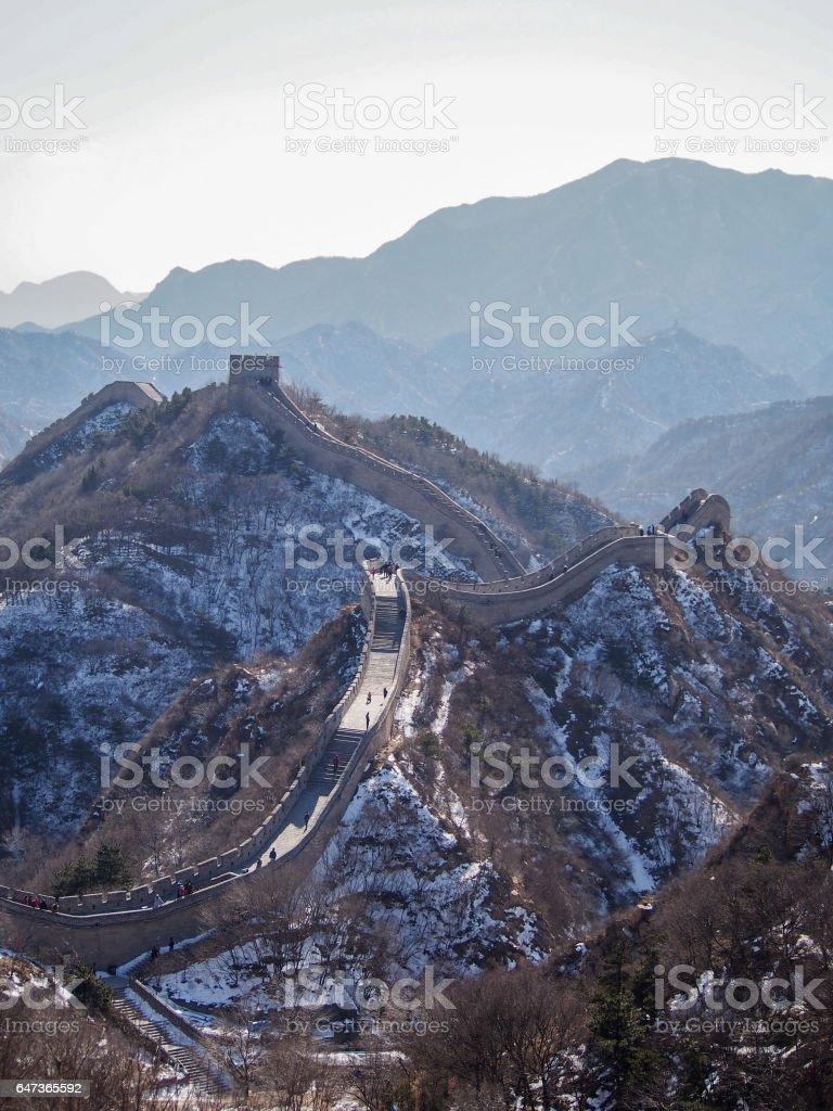 Great Wall of China along Mountain Ridges stock photo