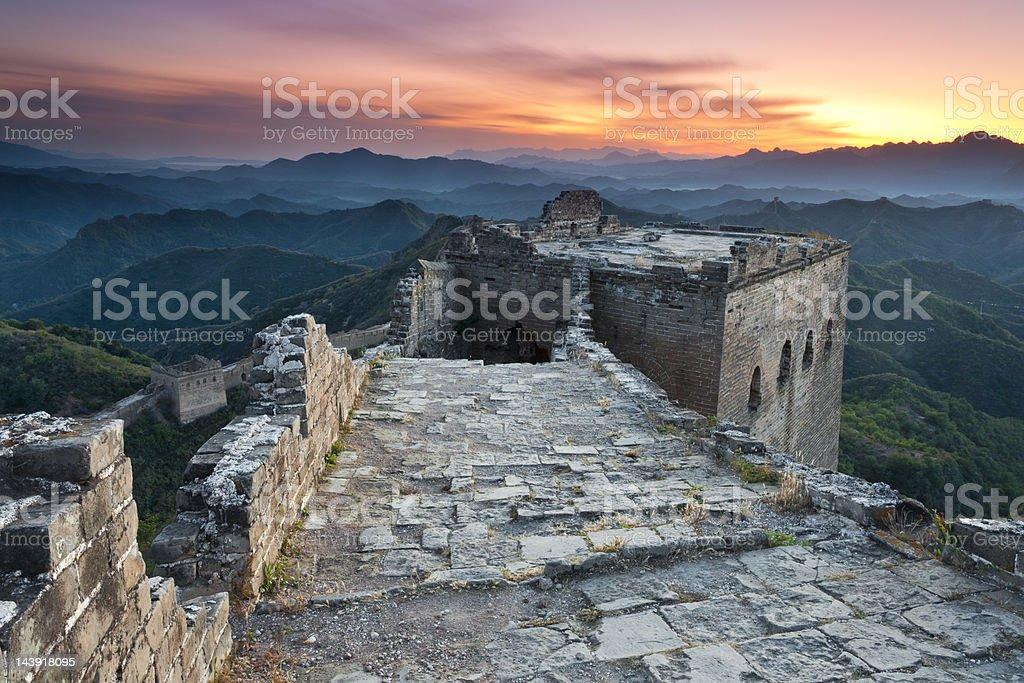 Great Wall of China at Dusk royalty-free stock photo