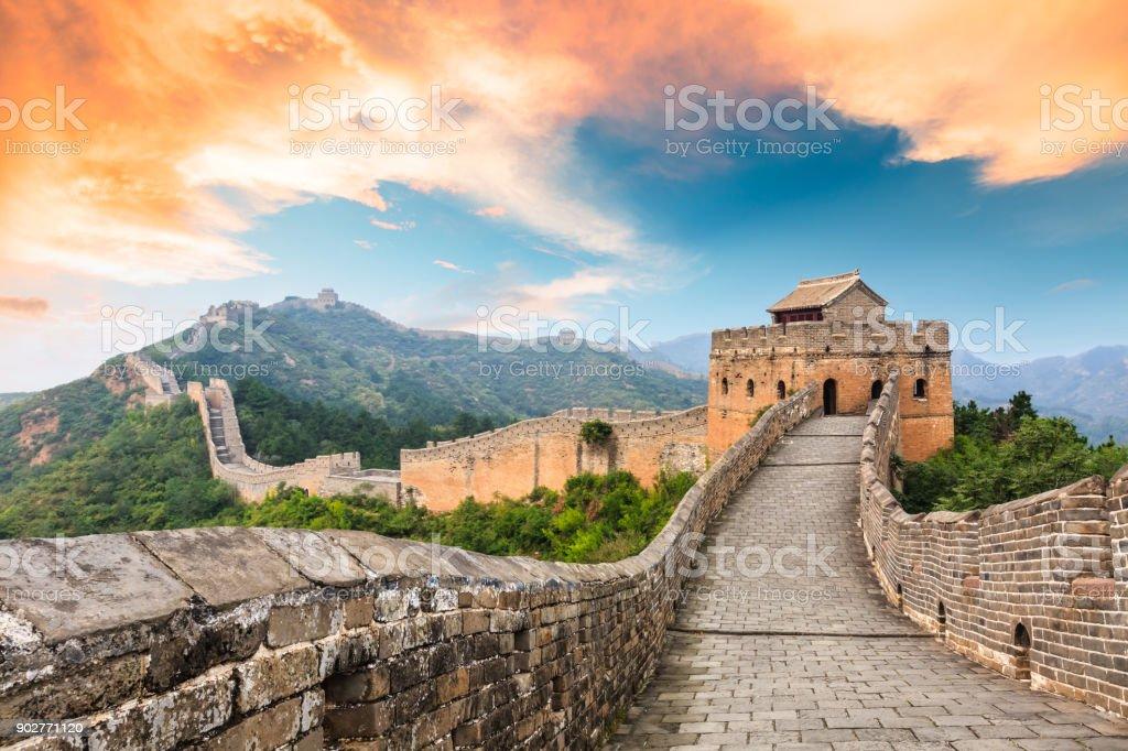Great Wall of China at the jinshanling section,sunset landscape Great Wall of China at the jinshanling section,sunset natural landscape Ancient Stock Photo
