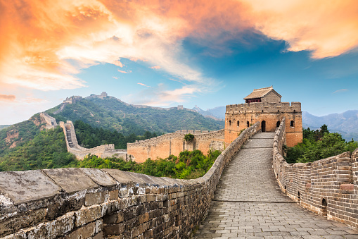 Great Wall Of China At The Jinshanling Sectionsunset Landscape Stock Photo - Download Image Now