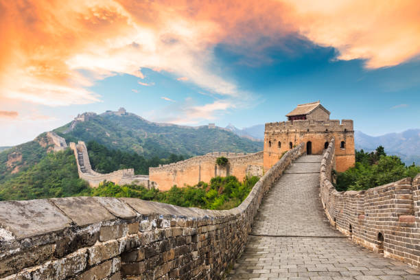 Great Wall of China at the jinshanling section,sunset landscape stock photo
