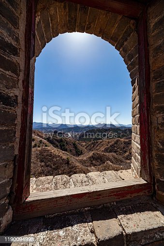 Great Wall of China fortress in the mountains