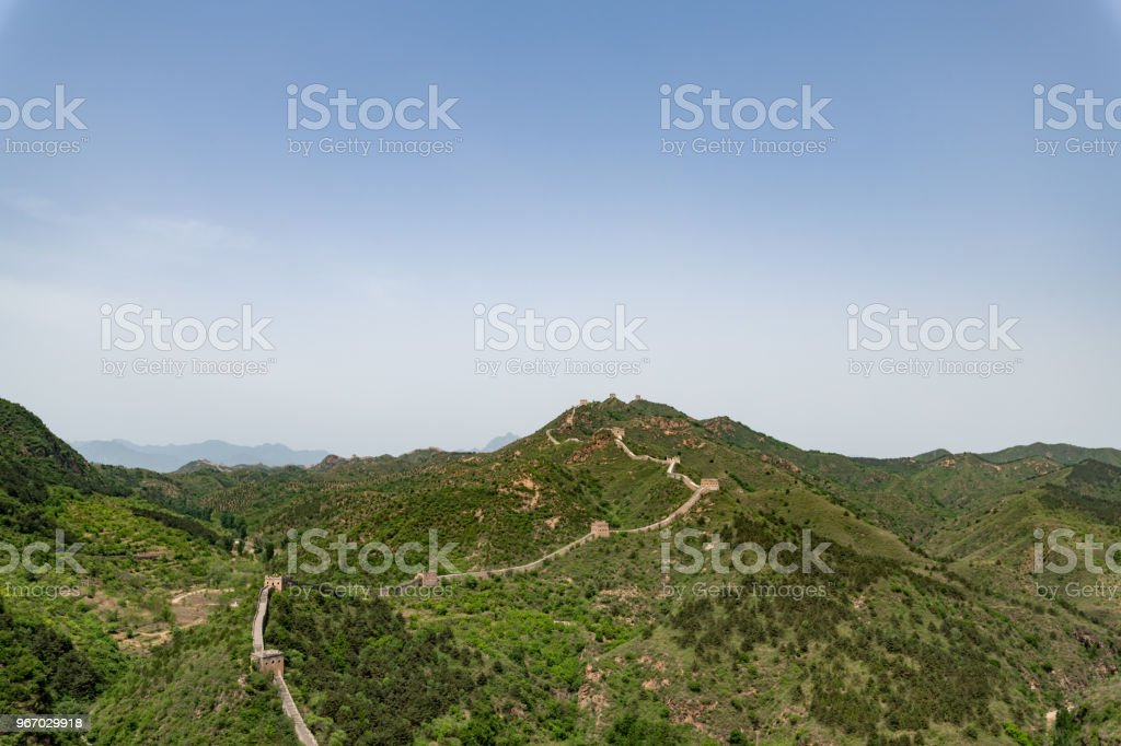 Great wall of China in Hubei province, Jinshanling in China stock photo