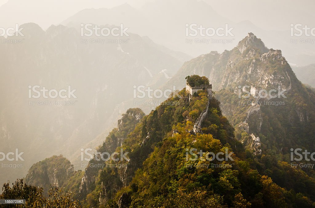 Great Wall of China in Misty Sunset royalty-free stock photo