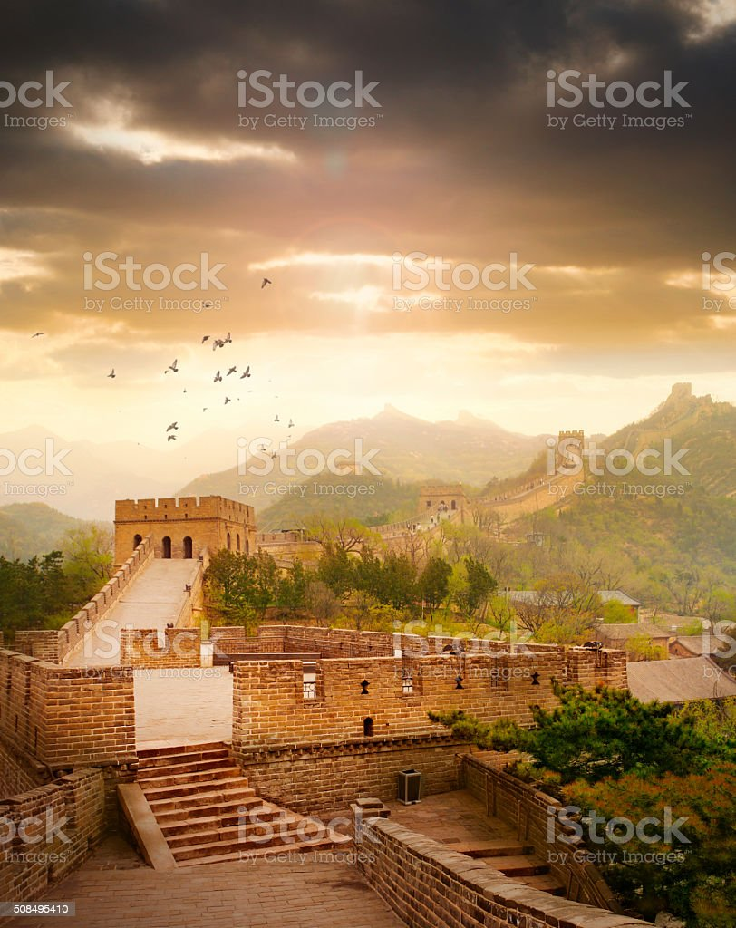 Great Wall of China in sunset light stock photo