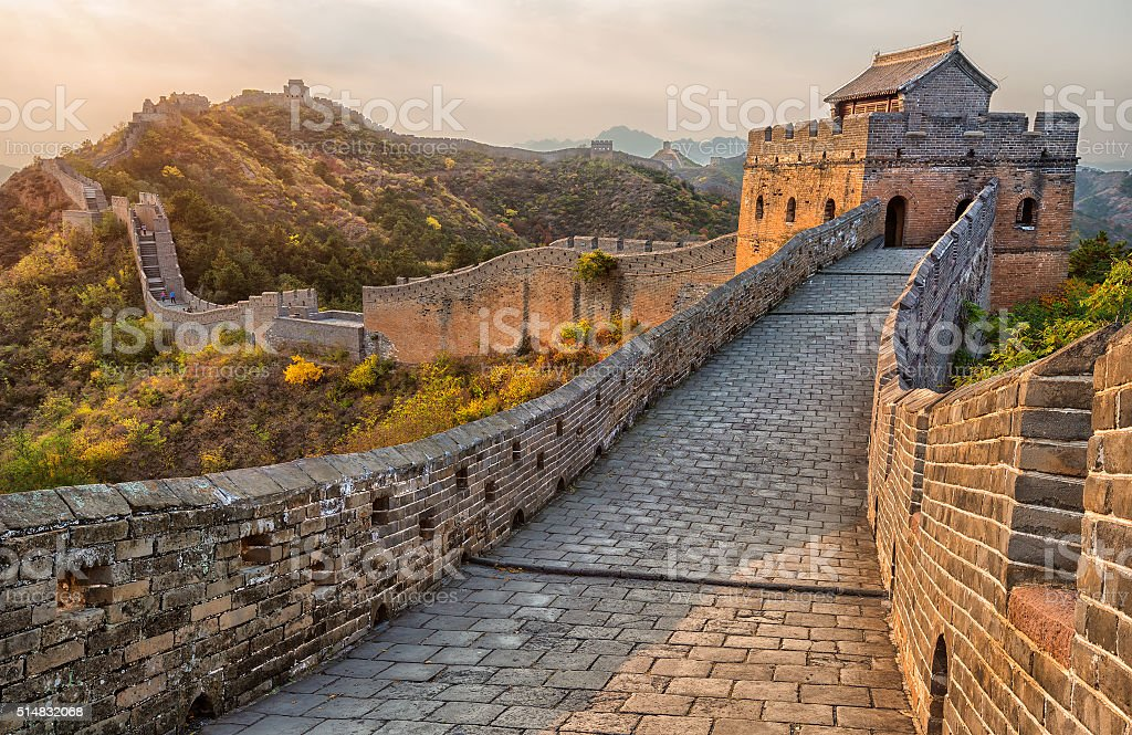 Great Wall of China - Lizenzfrei Abenddämmerung Stock-Foto