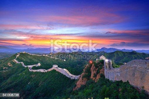 The great wall of China at sunset.