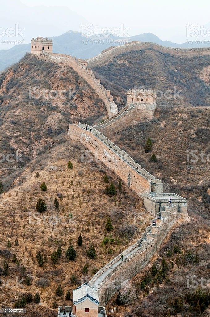 Great Wall of China with clear sky stock photo