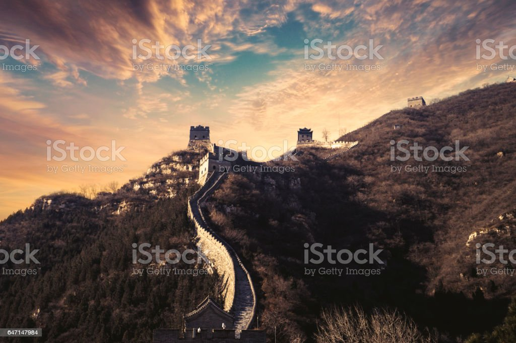Great Wall of China with twilight sky stock photo