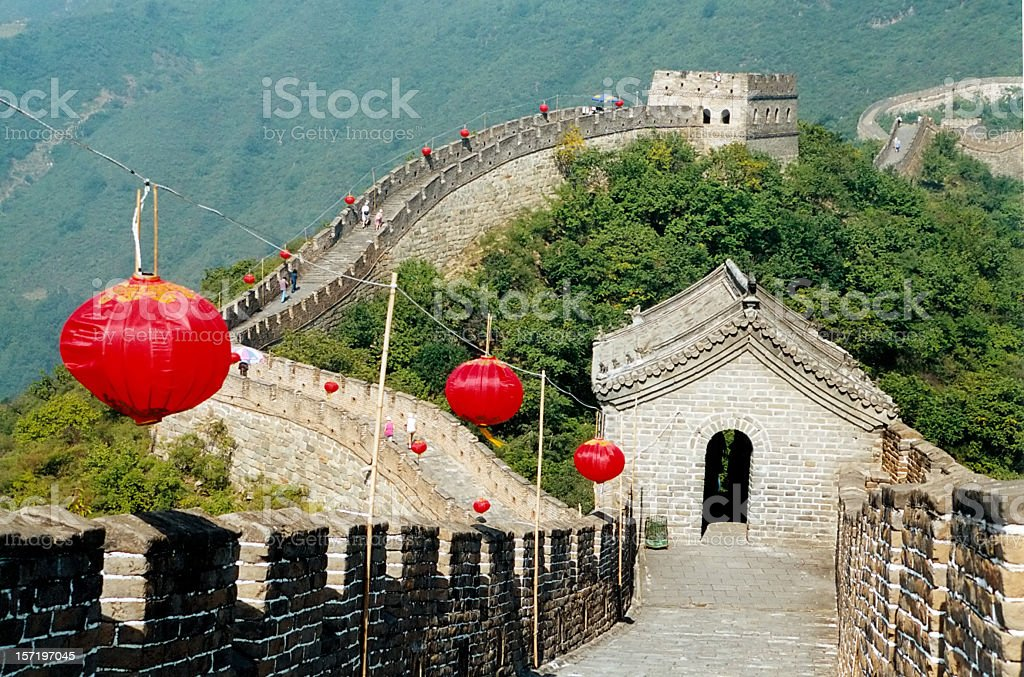Great wall of China with watchtower and lanterns ,Beijing stock photo