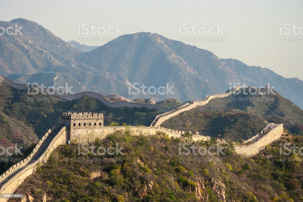 Great wall panorama ranging across mountains. Beijing, China stock photo