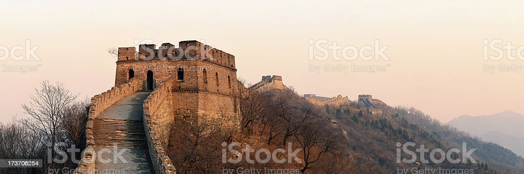 Great Wall sunset panorama royalty-free stock photo