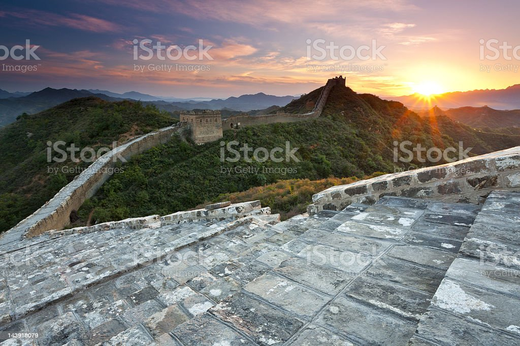 Great Wall Sunset stock photo