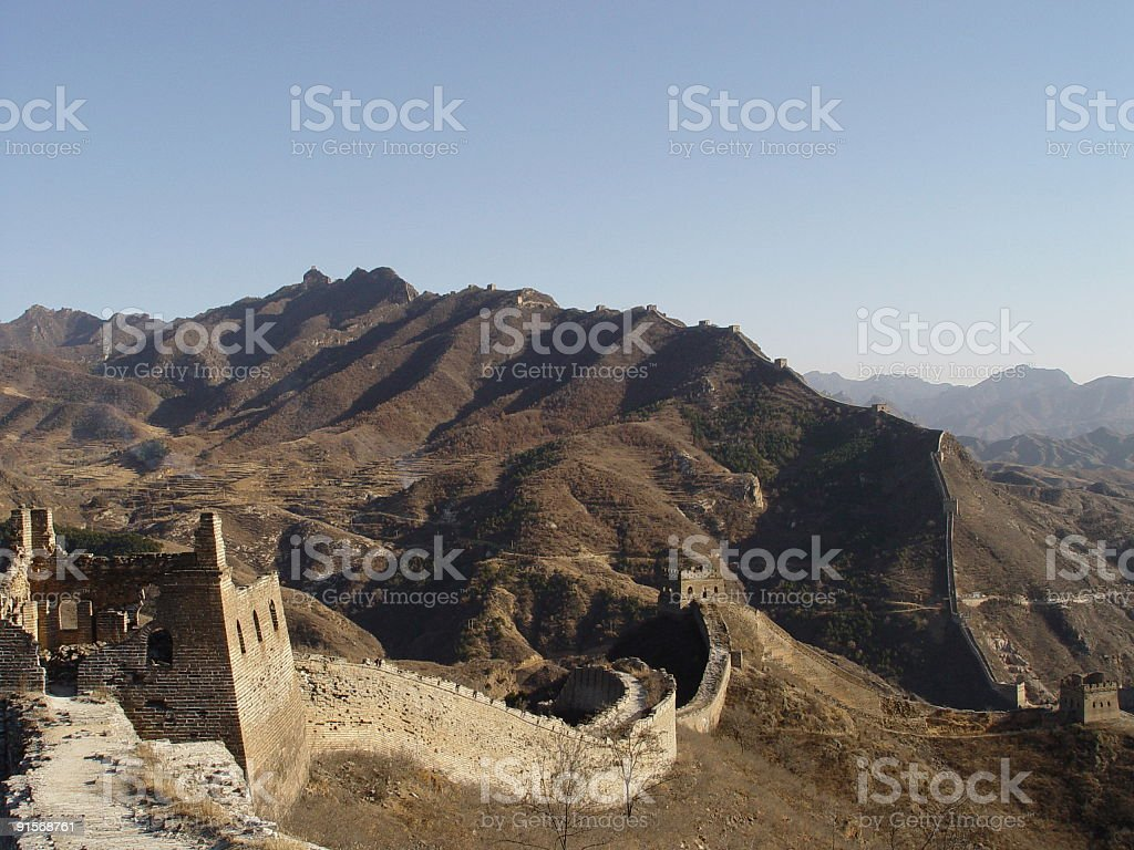 Great Wall - Tower and mountains stock photo