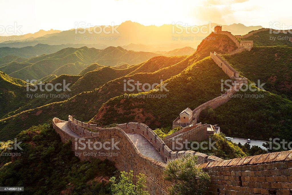 Great wall unter der Sonne bei Sonnenuntergang – Foto