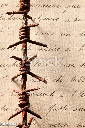 Great War. Barbed wire on old letter.