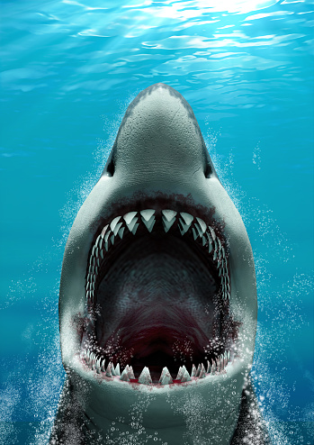 Great White Shark (Carcharodon carcharias) attacking with its mouth open and large teeth, rising fast to the surface, 3d render.