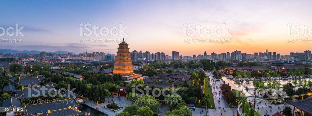 great wild goose pagoda in xi'an stock photo