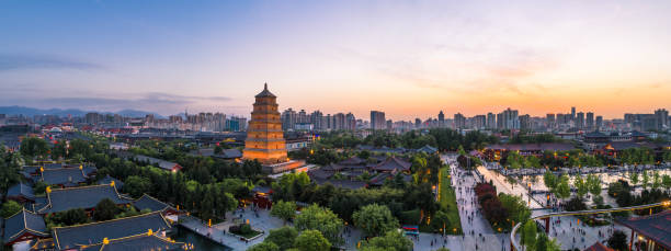 great wild goose pagoda in xi'an great wild goose pagoda in xi'an, china silk road stock pictures, royalty-free photos & images