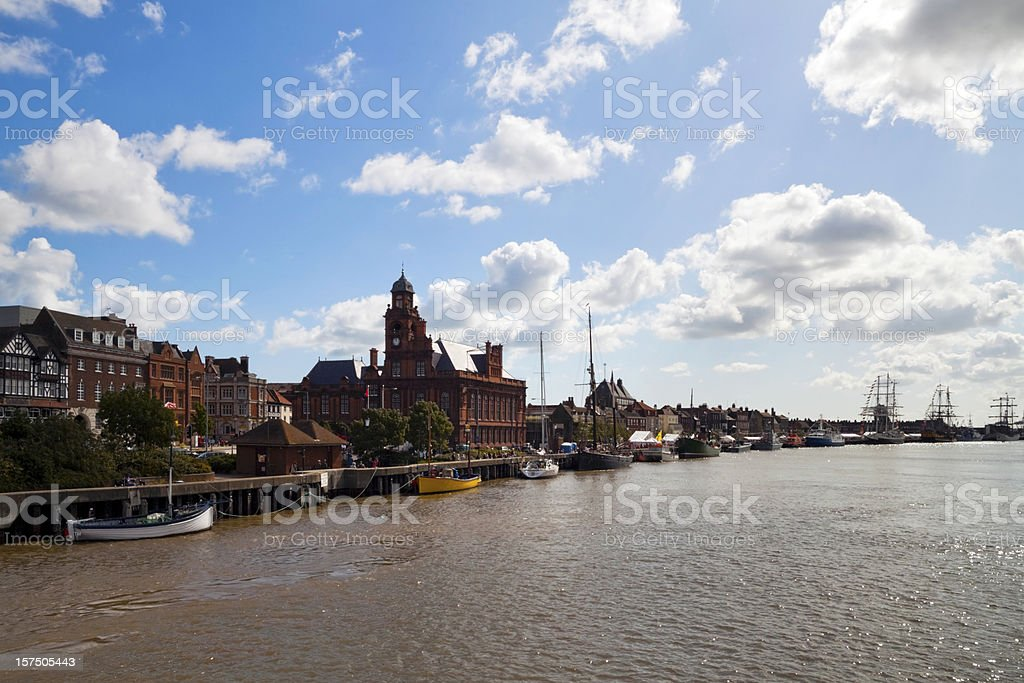 Great Yarmouth Hall Quay with sailing ships stock photo