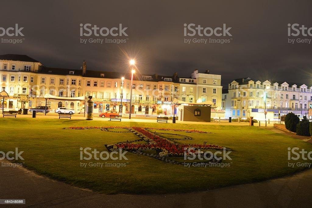 Great Yarmouth Marine Parade at night. stock photo
