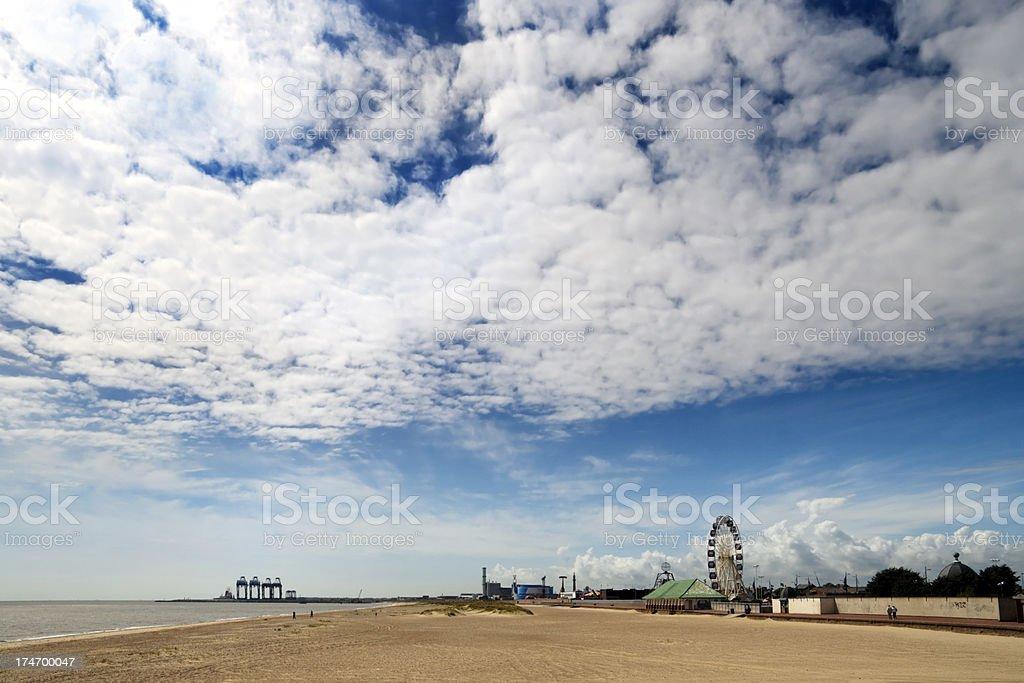 Great Yarmouth pleasure beach and South Denes stock photo